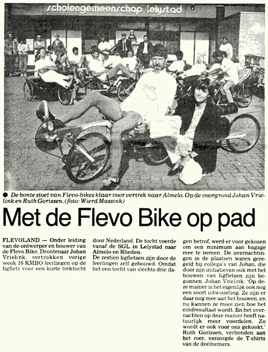 Newspaper article about the Flevobike trip